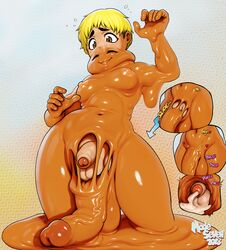 2018 5_fingers amber_eyes ami_dixie balls big_balls big_breasts big_penis breasts cheese_(modeseven) closed_eyes cum dickgirl dickgirl/male digital_media_(artwork) duo excessive_cum flaccid foreskin goo_creature heart hi_res huge_balls huge_cock humanoid intersex intersex/male lips male merging modeseven navel not_furry orange_body pale_skin penis penis_size_difference signature text vein veiny_penis wide_hips