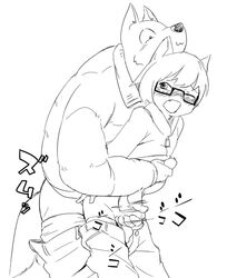 2013 age_difference blush canine canine clothed clothing duo eyewear feline feline glasses handjob male male/male mammal manmosu_marimo motion_lines older_male open_mouth pants_down partially_clothed penis sex shota_feline_(marimo) simple_background smile underwear underwear_down white_background white_canine_(marimo) younger_male
