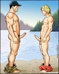 2boys age_difference ass balls black_hair blonde_hair circumcised erection feet gay hairy hat incest josman male_focus multiple_boys multiple_penises muscle penis pubic_hair size_difference uncut yaoi