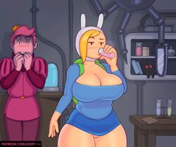 adventure_time animated breast_expansion chelodoy erect_nipples fionna_the_human_girl gigantic_breasts huge_areola puffy_nipples webm wide_hips