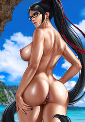 absurd_res anal anal_insertion anus ass bayonetta bayonetta_(character) beach black_hair blue_eyes breasts buttplug cum cum_on_face cum_on_lips cumdrip dandon_fuga dark_hair erect_nipples female female_focus female_only glasses long_hair long_nails looking_at_viewer looking_back mole mole_under_mouth nail_polish naked nipples nude outdoors outside painted_nails presenting presenting_ass pussy pussy_juice pussy_juice_trail sex_toy solo solo_female solo_focus straight uncensored video_game wet wet_anus