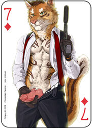 2018 abs anthro athletic brown_hair canine card clothed clothing digital_media_(artwork) erection feline fonyaa fur gloves green_eyes gun hair handgun hi_res holding_object holding_weapon hybrid knot male mammal markings necktie pecs penis playing_card pointy_ears ranged_weapon simple_background solo standing stripes sverre_(tigerlover1) text tiger watch weapon wolf