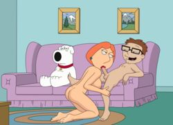 american_dad animal annoyed ass barefoot blowjob brown_hair collar couch crossover dog family_guy female glasses large_breast living_room lois_griffin looking_at_another looking_away male milf naked nipple on_knees open_mouth orange_hair penetration pleasure_face saliva saliva_on_penis sfan short_hair sideboob steve_smith sucking white_fur