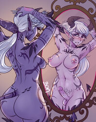 areolae armpit_hair ass blush breasts demon dickgirl erection futa_only futanari glasses horns lewd.commander nipple_piercing nipples nude penis piercing pointy_ears solo succubus tail