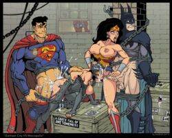 amazon balls batman bent_over biceps big_butt bikini box breasts catwoman chained cum cum_in_ass cum_in_mouth cum_in_pussy cum_inside cum_on_face dc_comics dripping_cum gloves goggles holding_legs holding_penis hourglass_figure kneehighs large_breasts peeping_tom shirt_lift superhero superheroine superman tongue_out torn_clothes veiny_penis warehouse wonder_woman