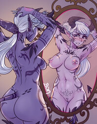 areolae ass blush breasts demon female female_only glasses horns lewd.commander nipple_piercing nipples nude piercing pointy_ears pussy solo succubus tail