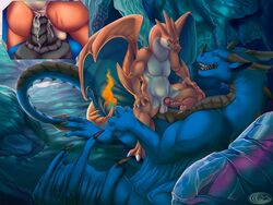 2018 2boys aliena-cordis anal anal_sex animal_genitalia animal_penis anthro anthro_on_feral ass black_penis black_skin blue_scales blue_skin charizard claws closed_eyes cowgirl_position cum cum_in_ass cum_inside detailed_background digital_media_(artwork) dragon duo erection feral fire gay genital_slit interspecies long_tail male male_only mega_charizard_y mega_evolution nintendo on_top orange_skin orgasm original_character penetration penis pike pokémon_(species) pokemon pokemon_rgby pokemon_xy precum reptile ridged_penis scales scalie sex sharp_teeth sitting size_difference slit syrazor tapering_penis teeth testicles thick_thighs tongue video_games watermark western_dragon wings yaoi zoophilia