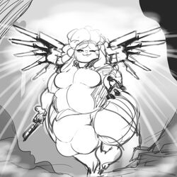 anthro ass balls ber00 big_balls big_butt big_penis body_hair breasts bulge caprine clothed clothing cookie_dough_(oc) cosplay curly_hair dickgirl greyscale hair huge_balls hyper hyper_balls hyper_penis intersex mammal mercy_(overwatch) monochrome overwatch overweight penis sheep solo video_games wide_hips