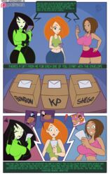3girls big_breasts bodysuit bonnie_rockwaller breasts captainjerkpants cleavage comic female female_only kim_possible kimberly_ann_possible large_breasts shego speech_bubble text thick_thighs wide_hips