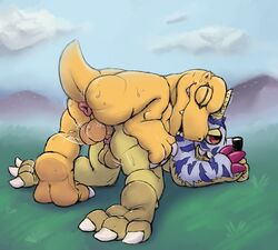 agumon anal anal_sex ass balls closed_eyes digimon dinosaur feet gabumon grass half-closed_eyes happy happy_sex male male/male on_top outside penetration penis rad-lizer scalie sex smile sweat
