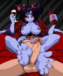 2018 5_fingers 5_toes :3 alcohol animal_humanoid anthro arachnid arthropod balls beverage black_hair blush breasts chara_(undertale) claws clothed clothing digital_media_(artwork) duo erection feet female foot_fetish footjob hair hair_ribbon human humanoid humanoid_feet insects larger_female looking_pleasured lying male male/female mammal mostlyfunstuff muffet multi_arm multi_eye multi_limb nipples nude open_mouth penis ribbons sex size_difference smile spider toe_claws toes two-footed_footjob undertale video_games wine wine_bottle wine_glass