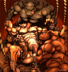 abs anal anal_fisting anthro arm_grab balls bear biceps bondage bound bovine brown_eyes brown_fur canine cattle cum erection fangs feline fisting fur grin huge_muscles humanoid_penis licking male mammal muscular muscular_male niku18 nude open_mouth penis rope smile sweat tiger tongue tongue_out yaoi yellow_eyes
