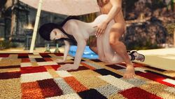 animated boots breasts brown_hair dark_elf doggy doggy_style female fingerless_gloves gloves jenassa legs_up long_hair looking_at_viewer lying male nipples penis sex skyrim skyrimsbw sword tagme the_elder_scrolls thighhighs webm