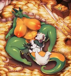 big_breasts breasts cum cum_in_pussy cum_inside dragon duo female huge_breasts jasper_(kazeattor) larger_female lying male male/female melee_weapon missionary_position on_back penetration scalie sex size_difference small_dom_big_sub sword tingtongten vaginal_penetration vaginal_penetration weapon