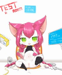 :3 anus blush bottomless braided_hair cat_busters clitoris clothed clothing computer dildo english_text eyebrows_visible_through_hair feline feline female flat_chested full_body fur gear green_eyes hair half-closed_eyes happy hi_res japanese_text lab_coat legwear long_hair looking_down mammal navel neko_hakase open_mouth pawprint pink_hair presenting pussy pussy_juice sake_(pixiv) screw sex_toy shirt simple_background sitting smile socks solo spread_legs spreading text tissue tissue_box tools translation_request uncensored urethra whiskers white_background white_fur wrench