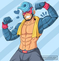 1boy abs arms_(game) biceps blue_hair blush clothing flexing frieddough_(artist) grin human male male_only mask muscle muscles muscular muscular_male pecs pubic_hair smile solo spring_man spring_man_(arms) topless