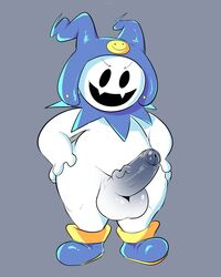 balls big_balls clothing demon erection footwear grey_background hands_on_hips humanoid_penis jack_frost_(megami_tensei) male megami_tensei penis simple_background slightly_chubby solo squishy_(artist) wide_hips