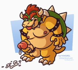 anthro balls bowser collar cum erection hair koopa male mario_bros masturbation nintendo nipples nude penile_masturbation penis red_hair scalie solo spikes themongrel tongue tongue_out video_games