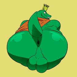 a-side anthro anus ass balls big_butt bubble_butt cape clothing crocodilian crown donkey_kong_(series) k_rool king kremling looking_at_viewer looking_back male male_only nintendo nude presenting presenting_anus presenting_hindquarters reptile royalty scalie sharp_teeth smile solo solo_male spread_butt spreading teeth video_games