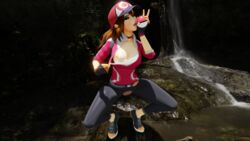 1girl 3d ayasz breasts brown_hair choker cleavage female female_only female_protagonist_(pokemon_go) fingerless_gloves gloves hat human leggings licking long_hair looking_at_viewer nipples one_breast_out open_mouth outdoors poke_ball pokemon pokemon_go ponytail shoes smile solo spread_legs squatting teeth tongue tongue_out torn_clothes vagina water