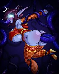 anal anal_sex anthro ass big_breasts big_butt breasts clothed clothing double_anal double_penetration elf female footwear glowing glowing_eyes hands_behind_back high_heels huge_breasts humanoid limebreaker not_furry penetration shoes solo stomach_bulge tentacle tentacle_in_mouth thick_thighs tongue tongue_out