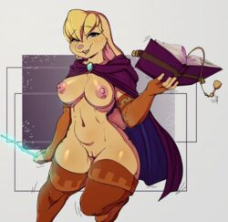 anthro areola arm_warmers armwear bianca_(spyro) blonde_hair blue_eyes book breasts brooch clitoris clothed clothing female hair lagomorph legwear magic magic_book magic_wand mammal navel nipples partially_clothed pink_nose pussy rabbit sigil smile spyro:bianca spyro_the_dragon thigh_highs video_games voluptuous wide_hips