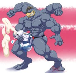 2018 2_toes 5_fingers abs anthro balls biceps big_balls blue_skin bulge clothed clothing cum cum_through_clothing cumshot digitigrade ejaculation fist flexing grin humanoid_penis hungothenomster looking_down machamp male masturbation muscular muscular_male muscular_thighs nintendo nipples orgasm pecs penile_masturbation penis penis_outline penis_shaped_bulge pink_background pokémon_(species) pokemon red_eyes sharp_teeth simple_background smile solo standing teeth thick_penis tight_underwear toes topless two_tone_background underwear video_games white_background