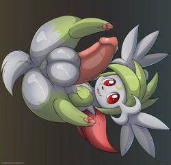 2018 anus balls big_balls big_penis erection feral fur green_fur kuroodod legendary_pokémon looking_at_viewer lying male nintendo on_back pawpads penis perineum pink_pawpads pink_penis pinup pokémon_(species) pokemon pose red_eyes shaymin shaymin_(sky_form) simple_background solo spread_legs spreading thick_penis video_games white_fur