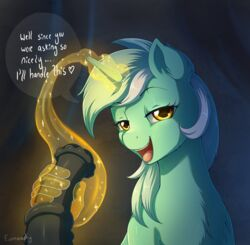 2018 animal_genitalia animal_penis dialogue digital_media_(artwork) disembodied_penis duo english_text equine equine_penis evomanaphy feral friendship_is_magic fur handjob hi_res horn looking_at_viewer lyra_heartstrings_(mlp) male mammal my_little_pony open_mouth penis sex solo_focus text unicorn