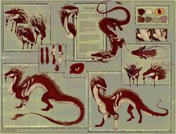 2018 absurd_res antlers araivis-edelveys black_lips claws digital_media_(artwork) dragon eastern_dragon english_text feral fur hi_res horn male no_sclera open_mouth orange_eyes penis red_fur solo teeth text