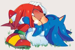 anthro anthro_on_anthro blush breath closed_eyes clothed clothing echidna footwear french_kissing gloves hedgehog hi_res kissing knuckles_the_echidna legwear lying male male/male mammal monotreme nude on_back on_top open_mouth quills r18 shoes socks sonic_(series) sonic_the_hedgehog spikes sweat tongue tongue_out video_games