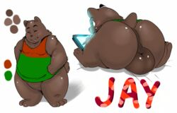 2014 anthro ass backsack balls bear big_balls big_butt blush brown_fur closed_eyes digital_media_(artwork) fur green_eyes jay_(hadou) male male_only mammal model_sheet overweight overweight_male presenting presenting_hindquarters satsui-n0-had0u simple_background sitting slightly_chubby smile solo solo_male standing tablet tongue tongue_out white_background