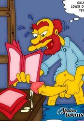 groundskeeper_willie human male masturbation penis solo the_simpsons yellow_skin