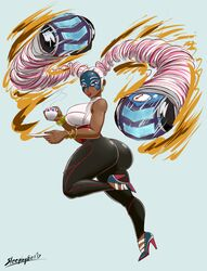 arms_(game) ass breasts dark_skin sleepingeel twintails twintelle white_hair