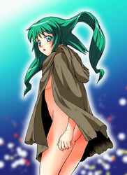 ass blush breasts cloak dike green_eyess green_hair kouda_tomohiro long_hair no_bra no_panties sideboob solty_rei solty_revant