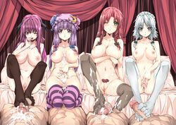 4boys 4girls bat_wings black_legwear blue_eyes blush bow braid breasts crescent cum cum_on_body cum_on_lower_body footjob green_eyes hairbow hat head_wings hong_meiling ichikawa_ryuunosuke izayoi_sakuya koakuma large_breasts long_hair looking_at_viewer maid_headdress multiple_boys multiple_girls navel nipples one_eye_closed open_mouth patchouli_knowledge penis pubic_hair purple_eyes pussy red_eyes red_hair smile spread_pussy striped striped_legwear thigh_sex thighhighs toe_socks touhou twin_braids uncensored white_legwear wings wink