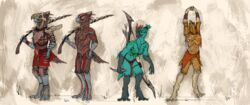 2018 4_fingers 4_toes animal_genitalia anthro armor arrow avian balls beak biped black_eyes blue_sclera bow_(weapon) breasts brown_balls brown_feathers claws clothed clothing dagger digital_media_(artwork) falcrus feathers female front_view grey_beak group half-closed_eyes headdress hi_res holding_object holding_weapon knee_pads logo loincloth looking_aside male melee_weapon mostly_nude multiple_versions nipples open_beak open_mouth orange_bottomwear pink_nipples pink_pussy pussy ranged_weapon red_bottomwear red_stripes sheath simple_background skull_mask slit_pupils standing stretching stripes tail_feathers talons tattoo teal_feathers textured_background toes tribal tribal_tattoo warrior weapon white_background white_claws yellow_sclera