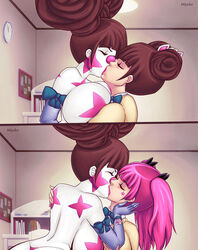 2girls bimbo breast_press brunette clown detached_collar hajimete_no_gal kissing lipstick miycko nene_fujinoki yuri