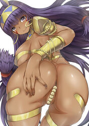 arinotowatari ass blush bracelet breasts convenient_censoring dark_skin egyptian egyptian_clothes facial_mark fate/grand_order fate_(series) female jewelry large_breasts long_hair looking_at_viewer nitocris_(fate/grand_order) presenting purple_eyes purple_hair simple_background smile solo very_long_hair white_background
