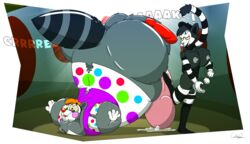 balls big_balls circus clcoon clown dickgirl digital_media_(artwork) hi_res huge_balls hyper inflation intersex male mime precum relique toony