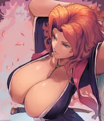 areola_slip areolae big_breasts bleach breasts bursting_breasts cleavage clothing curvy cutesexyrobutts female female_only hair highres huge_breasts long_hair matsumoto_rangiku solo voluptuous