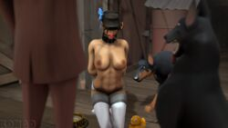 3d arms_behind_back ball_gag blindfold bondage bound bound_arms breasts canine choker collar dog dog_bowl female femscout femsub gag gagged hat kneeling kongo nipples red_ball_gag restrained rubber_duck source_filmmaker spy team_fortress_2 thighhighs tongue_out topless