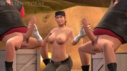 3d animated double_handjob femscout heavy_weapons_guy male outdoors penis rule_63 scout sound source_filmmaker tagme team_fortress_2 valve webm