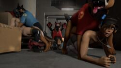 3d alley breasts canine canine cardboard_box doggy_style fempyro femscout femsniper kongo orgy saliva source_filmmaker team_fortress_2 zoophilia