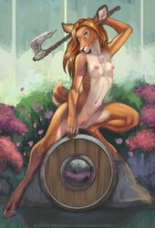 2019 anthro axe blonde_hair blue_eyes breasts cervid day di19826 female fur grass hair hedda_(shadeba) hi_res hooves mammal melee_weapon navel nipples nude outside pink_nipples plant pussy rock shield solo tan_fur weapon white_belly white_fur