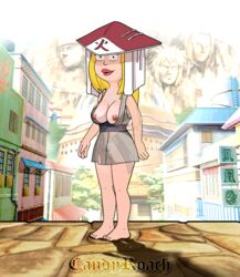 american_dad animated barefoot black_eyes blonde_hair breasts breasts_outside busty candy_roach cosplay crossover dress_lift feet female female female_only francine_smith headdress legs lipstick naruto naruto_(series) naruto_shippuden nipples outdoors pussy solo solo_female solo_focus tattoo toes tsunade vagina yellow_hair