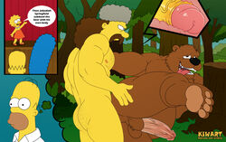 ahe_gao anal anal_sex ass bara bear color daddy dilf erection forest gay homer_simpson jebediah_springfield kiwart lisa_simpson male/male marge_simpson mature muscle pecs penis sex the_simpsons thought_bubble uncensored x-ray yaoi zoophilia