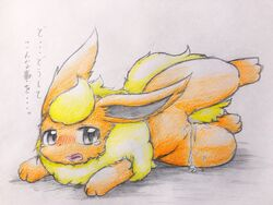 ... 1girls 3_toes big_ears black_eyes blush canid canine chest_tuft colored_pencil_(artwork) dripping ears_back eeveelution eiroru feet female female_only feral flareon fluffy fluffy_ears fur furry grey_eyes hi_res japanese_text leg_up long_ears lying mammal nintendo nude on_side open_mouth orange_fur paws pokémon_(species) pokemon pokemon_rgby pussy pussy_juice sketch snout solo spread_legs spreading text thick_thighs toes tongue traditional_media_(artwork) translation_request tuft video_games wet wide_hips yellow_fur yellow_tail