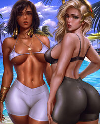 2girls absurdres ass belly_chain bikini black_hair blizzard_entertainment blonde_hair breasts brown_eyes commentary dark_skin day eye_of_horus eyeliner facial_mark facial_tattoo from_behind green_eyes hair_tubes halterneck highres jewelry large_breasts lips logan_cure looking_at_viewer looking_back makeup mechanical_halo mercy multiple_girls navel nude outdoors overwatch paid_reward patreon_reward pharah pool poolside pussy shiny shiny_hair shiny_skin short_hair side_braids