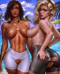 2girls absurdres ass belly_chain black_hair blizzard_entertainment blonde_hair breasts brown_eyes commentary dark_skin day eye_of_horus eyeliner facial_mark facial_tattoo from_behind green_eyes hair_tubes halterneck highres jewelry large_breasts lips logan_cure looking_at_viewer looking_back makeup mechanical_halo mercy multiple_girls navel nude outdoors overwatch paid_reward patreon_reward pharah pool poolside pussy shiny shiny_hair shiny_skin short_hair side_braids